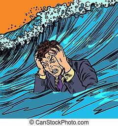 The man panics. Big wave stress. Pop art retro vector ...