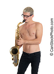 the man plays a saxophone, isolated on white