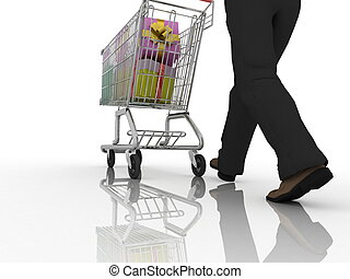 The man rolls the store cart with