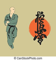 The man shows karate, an illustration with a hieroglyph..eps