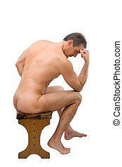 The man sits on a chair