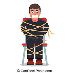 the man was kidnapped and tied up in a chair. ransom demand...