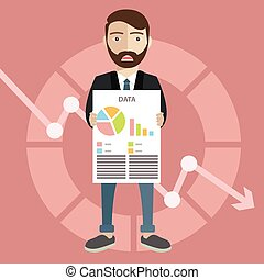 The man with a beard with falling down chart is confused. Bankruptcy concept. Vector flat design illustration.