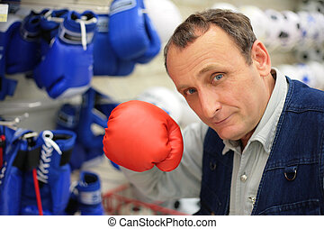 The man with a boxing glove