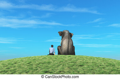 The man with elephant