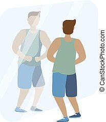 The man with the muscles. Posing bodybuilding. Isolated vector illustration on white background