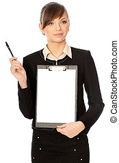 making a presentation - The manager with white blank paper...