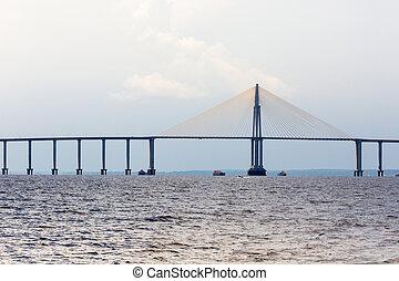 The Manaus Iranduba Bridge (called Ponte Rio Negro in...