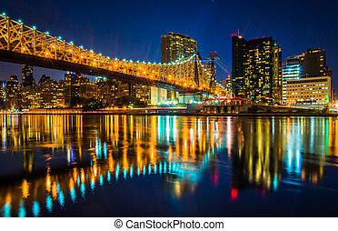The Manhattan Skyline and Queensboro Bridge at night, seen from