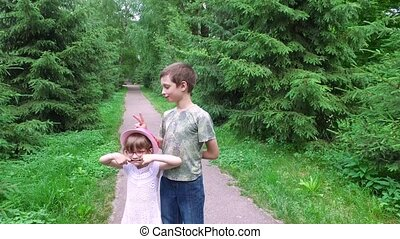 The manifestation of children's emotions. Teen boy and girl...
