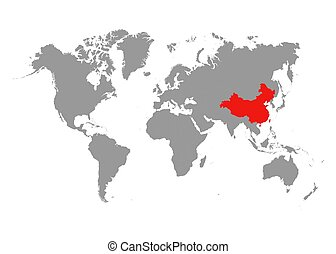 The map of China is highlighted in red on the world map