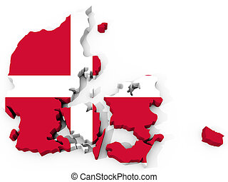 The Map of denmark with flag