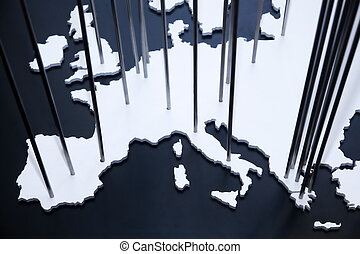 The map of Europe on a black background