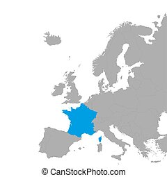 The map of France is highlighted in blue on the map of Europe