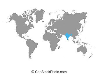 The map of India is highlighted in blue on the world map