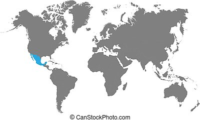 Mexico is highlighted in blue on the world map