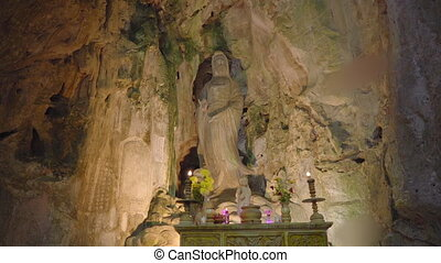 The Marble mountains a complex of Buddhist temples, famous tourist destination in the city of Da Nang, central Vietnam. Travel to Vietnam concept.