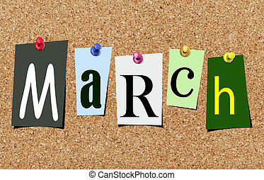 The march magazine cutout letters pinned to cork noticeboard