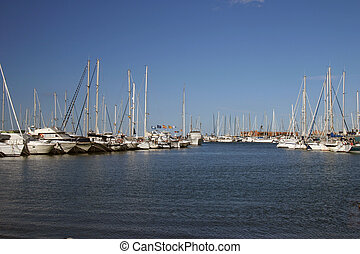 the marina - view of boats all moored in the marina at Denia...