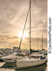 The marine jetty with yachts and boats in the light of sunset