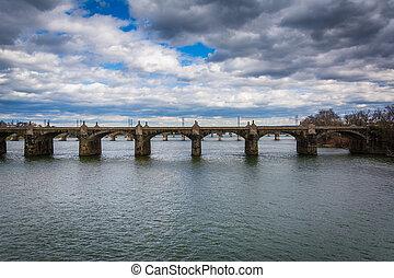 The Market Street Bridge over the Susquehanna River, in Harrisburg, Pennsylvania.
