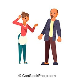 The married couple quarrels in flat design. Wife scold your...