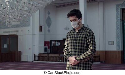 man pandemic praying in the mosque 4k videos