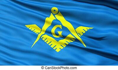 The Masonic Flag Of Freemasonry with stylised Square and...