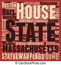The Massachsetts State House text background wordcloud concept