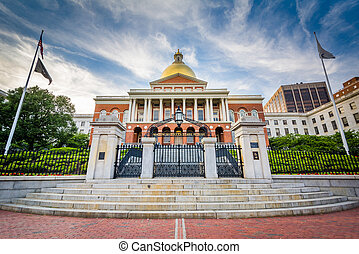 The Massachusetts State House, in Beacon Hill, Boston, Massachusetts.