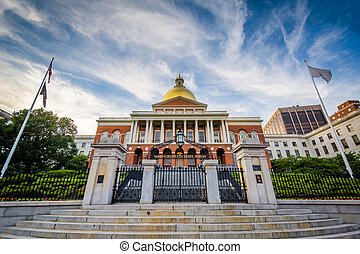 The Massachusetts State House, in Boston, Massachusetts.