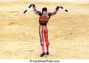 The matador with the peaks is preparing for the bullfight....