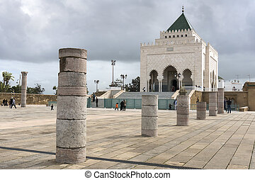 The Mausoleum of Mohammed V, a historical building located...