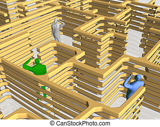 The maze of business. - Businessman searching his way, being...