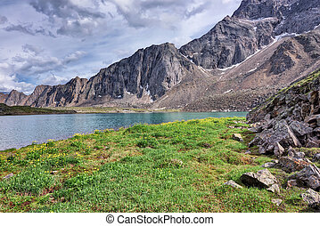 The meadow on the shore of a mountain lake