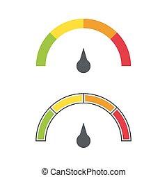 The measuring device. - The measuring device with a color...
