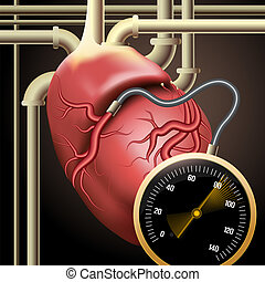Illustration with human heart connected to pipes and measuring device as metaphor of new biological technologies drawn in surrealistic style