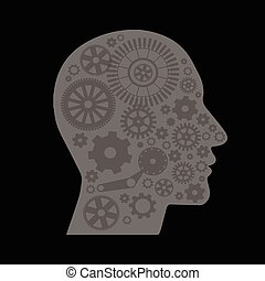 The mechanism in the head on a black background
