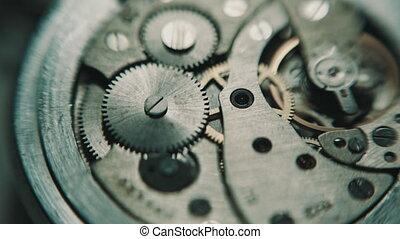 The mechanism of analog hours. close-up shot, soft focus,...