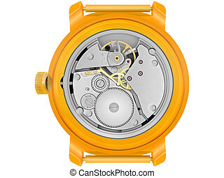 The mechanism of hours in the gold case on a white...