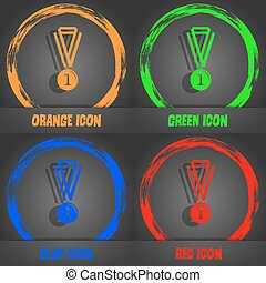 the medal for first place icon. Fashionable modern style. In the orange, green, blue, red design. Vector
