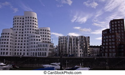 The Media Harbor in Dusseldorf, Germany. View of the Neuer Zollhof, designed by Canadian architect Frank O. Gehry.