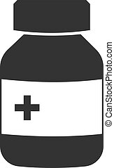 The medicine bottle icon is flat. Isolated vector image on a white background.