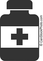 The medicine bottle icon is flat. Vector illustration isolated on a white background.