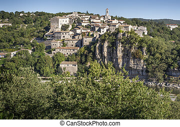 The medieval small town of Balazuc, France