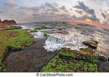 The Mediterranean Sea at low tide