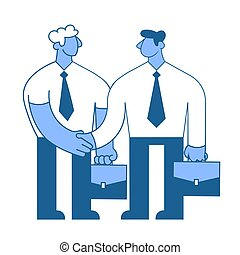 The meeting of two businessmen, business handshake. Flat vector illustration. Isolated on white background.
