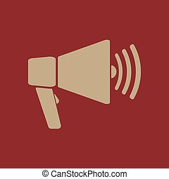The megaphone icon. Bullhorn symbol. Flat