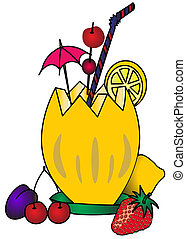 The Melon with umbrella , fruit and berry on white...