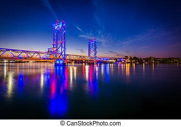 The Memorial Bridge over the Piscataqua River at night, in Portsmouth, New Hampshire.